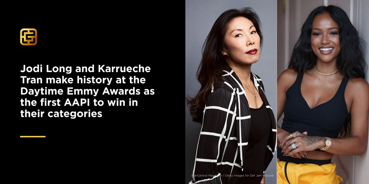 History made: @xojodilong is the first Asian-American actress to win a #DaytimeEmmy, & @karrueche is the first #AAPI Lead Actress winner for either Primetime or Daytime awards. 👏👏👏  #GoldMedal #GoldExcellence #AsianExcellence https://t.co/UpeufDGoH3