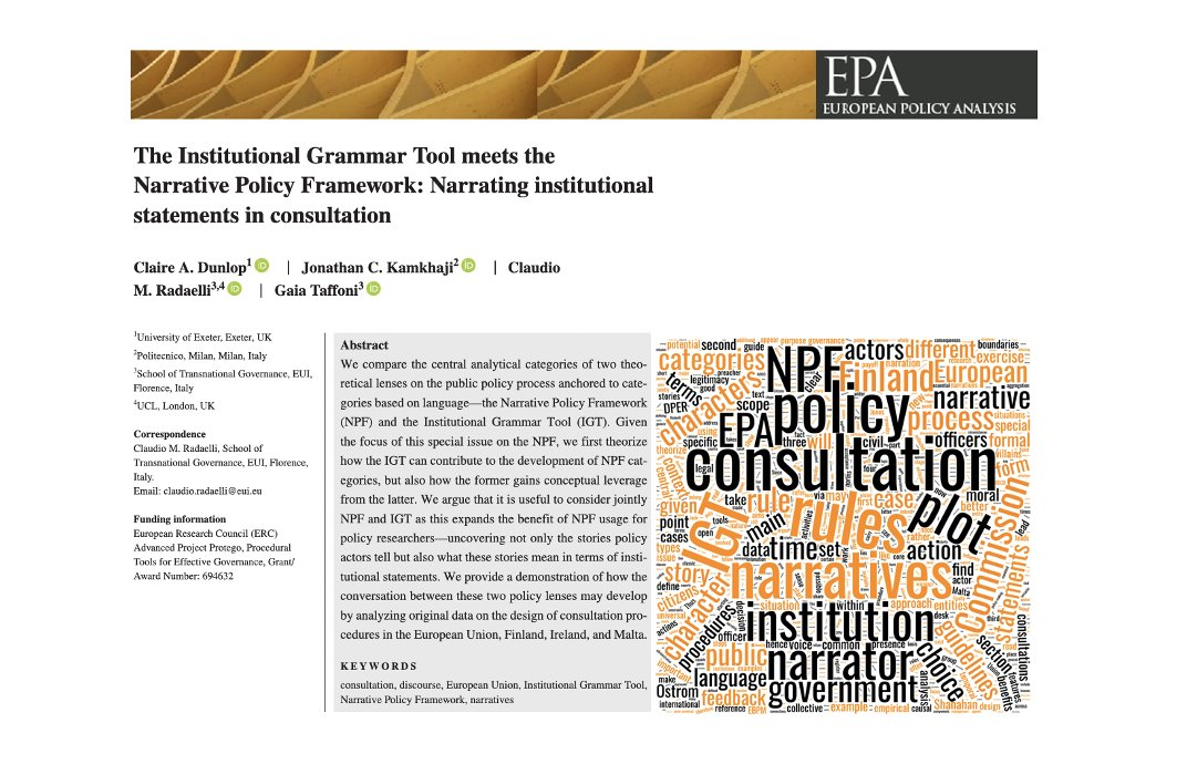 Happy to see our paper published online with @ProfDunlop Jonathan Kamkhaji and @ProfCRadaelli   We theorized a correspondence between NPF categories onto IGT rule types. A dialogue between the two is possible! Paper is open access 👇 @ERC_Research