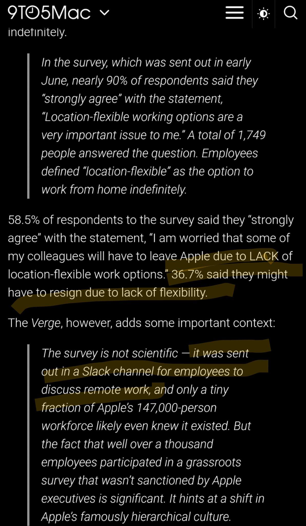 Apple survey results.