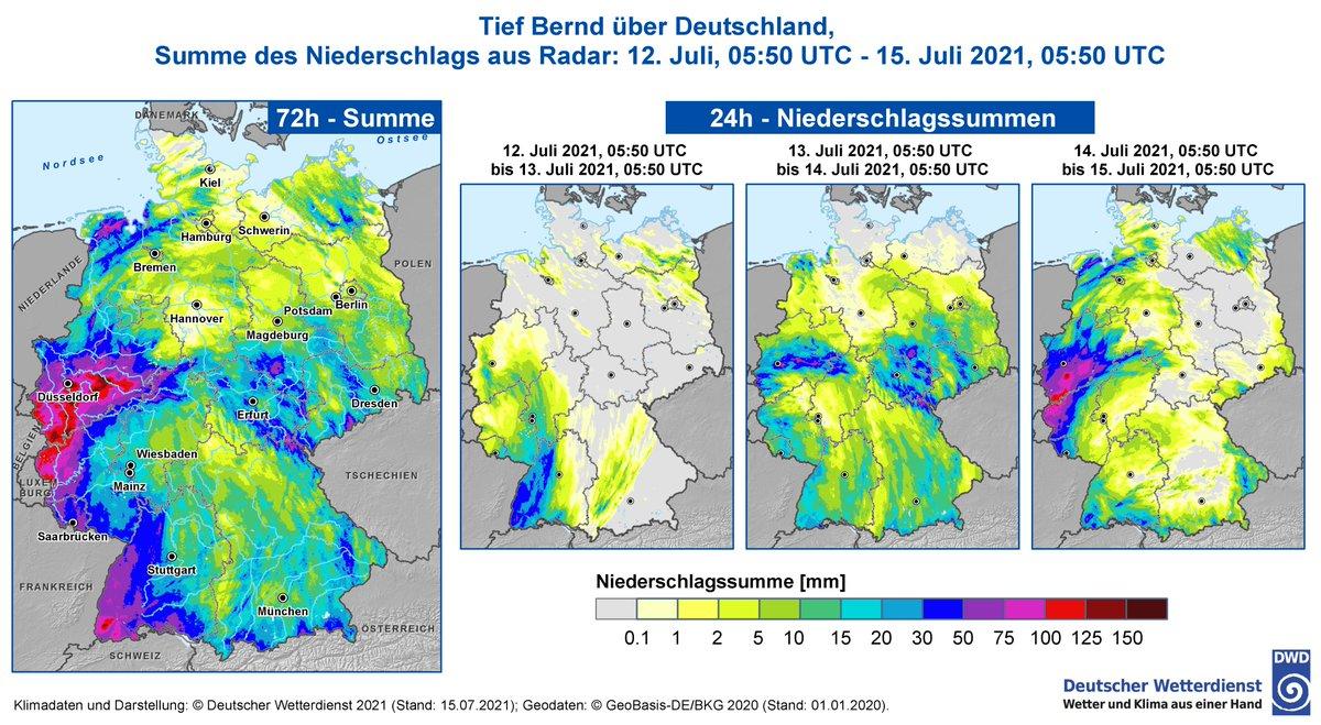 La goutte froide de cette semaine a favorisé un retour d'air chaud par le nord, qui a contribué à alimenter l'activité des précipitations sur l'Allemagne. Il est tombé plus de 100 à 150 mm de pluie sur des bassins entiers en Rhénanie du Nord et Rhénanie Palatinat.