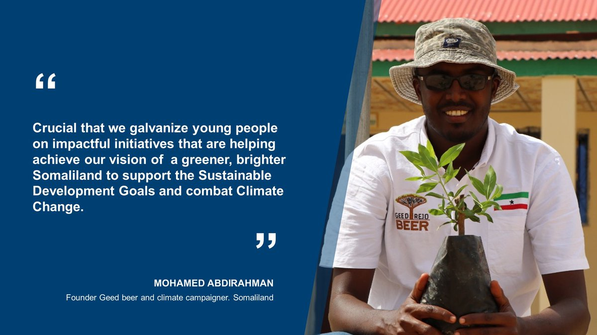 It is vital that young people play a role in ensuring we all achieve a greener and cleaner #Somaliland and the 🌎.   Here is what @EnvMohamed from @GeedBeer had to say on the  #AUGreenRecovery Action plan launched yesterday #ClimateAction🌳🌎💚 https://t.co/ssQWOlGx0x