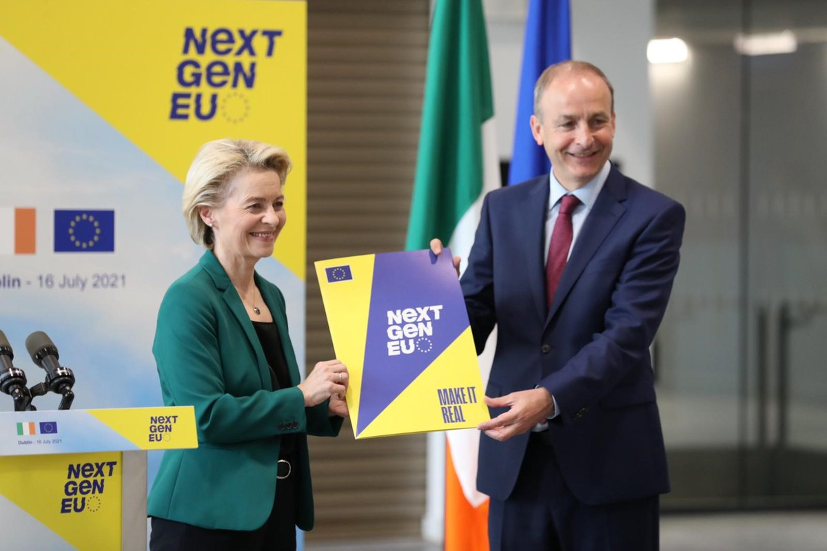 Delighted to welcome President @vonderleyen today to endorse Ireland's Recovery and Resilience Plan for a green and digital future.  We also discussed climate change, relations with the UK, the pandemic, and the needs of our fishing communities. https://t.co/LrWIe4AjbN