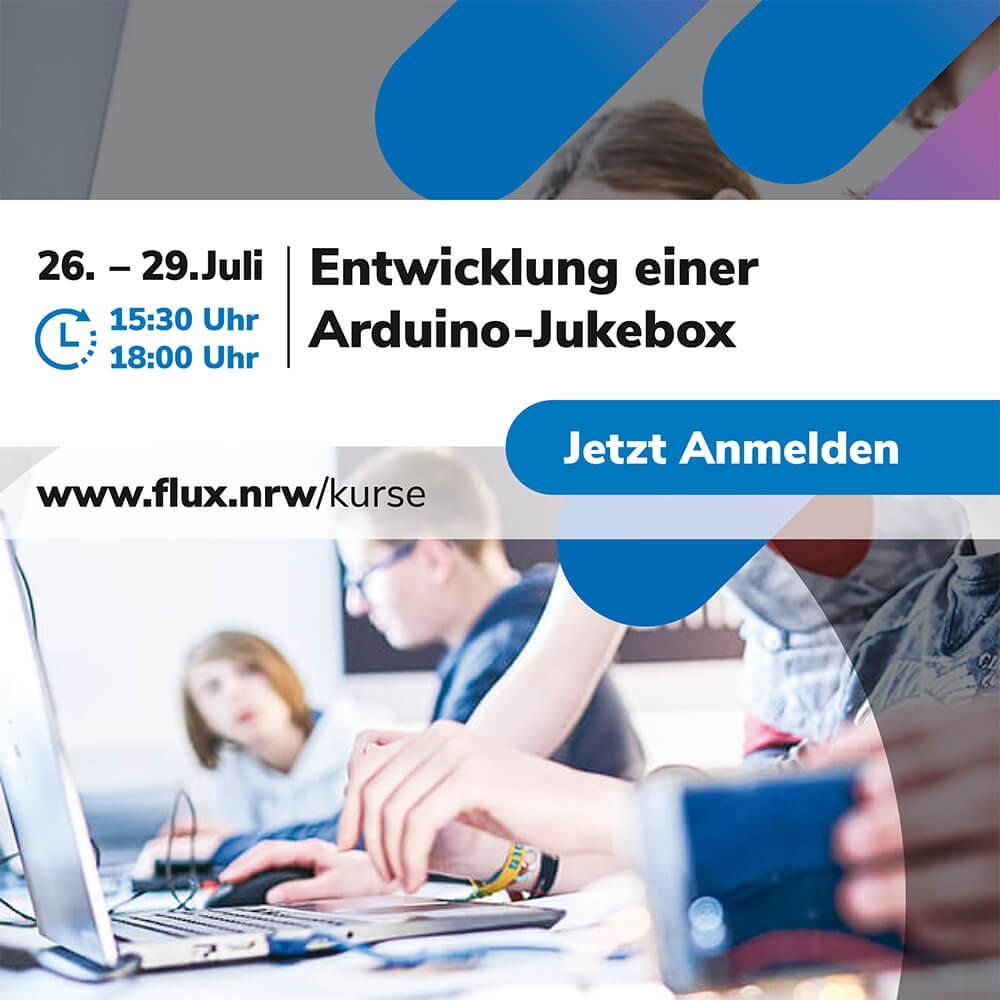"""Noch Plätze frei!  Aufbaukurs 🤖 Entwicklung einer #Arduino #Jukebox 🎸🎼 im <a class=\""""link-mention\"""" href=\""""http://twitter.com/flux_nrw\"""" target=\""""_blank\"""">@flux_nrw</a> Schülerforschungslabor. Info und Anmeldung: <a href=\""""https://t.co/4QTAXZzqUN\"""" class=\""""link-tweet\"""" target=\""""_blank\"""">https://t.co/4QTAXZzqUN</a> Für #Schülerinnen und #Schüler kostenfrei dank <a class=\""""link-mention\"""" href=\""""http://twitter.com/zdiNRW\"""" target=\""""_blank\"""">@zdiNRW</a> 💸 <a href=\""""https://t.co/AXnosZioAV\"""" class=\""""link-tweet\"""" target=\""""_blank\"""">https://t.co/AXnosZioAV</a>"""
