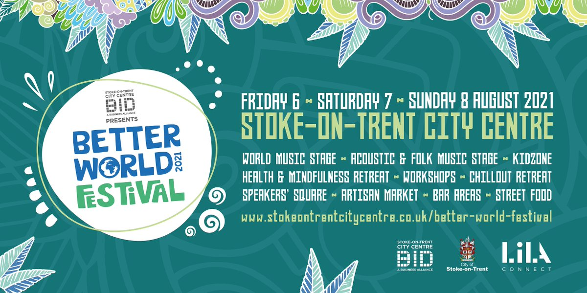 Not long to wait until Better World Festival comes to the City Centre! The free, 3-day, family-friendly festival takes place from Friday 6 August - Sunday 8 August and the full line up can be found at stokeontrentcitycentre.co.uk/better-world-f… #MyStokeStory