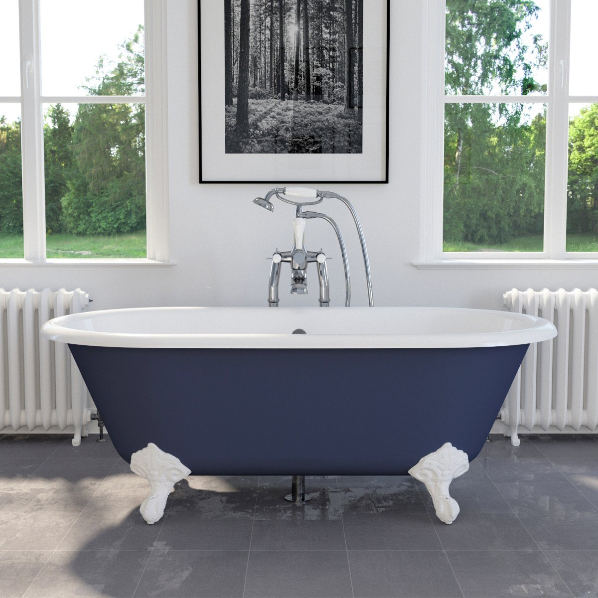 We are pleased to showcase our Dryden Small, shown in Farrow & Ball Drawing Room Blue View our Full Range of Cast Iron Baths: hurlinghambaths.co.uk/baths/cast-iro… #baths #castironbaths #bathrooms #bespokebaths #interiordesigns #homerenovations #bathroomdesigns #hurlinghambathrooms #expert