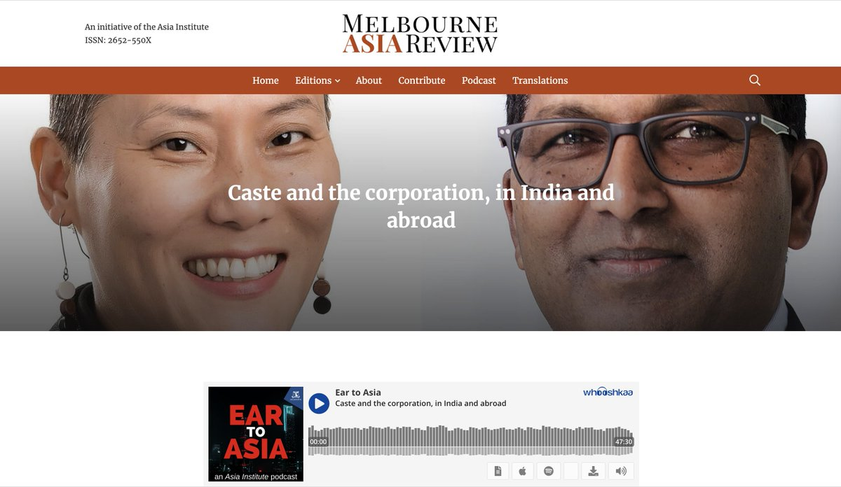 In this podcast of Ear to Asia, Dolly Kikon and I discuss with Ali Moore how caste has become a global phenomenon, affecting people, businesses and societies. Long episode, good for a walk or a workout :)  https://t.co/OZpKtrUE56   @alimoore004 https://t.co/BAyLqUDJq4