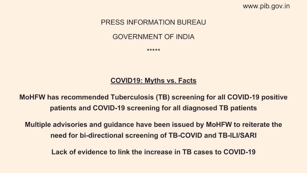सरकार ने कहा कि कोविड के कारण देश में टीबी के मरीज बढ़ने के कोई सबूत नहीं