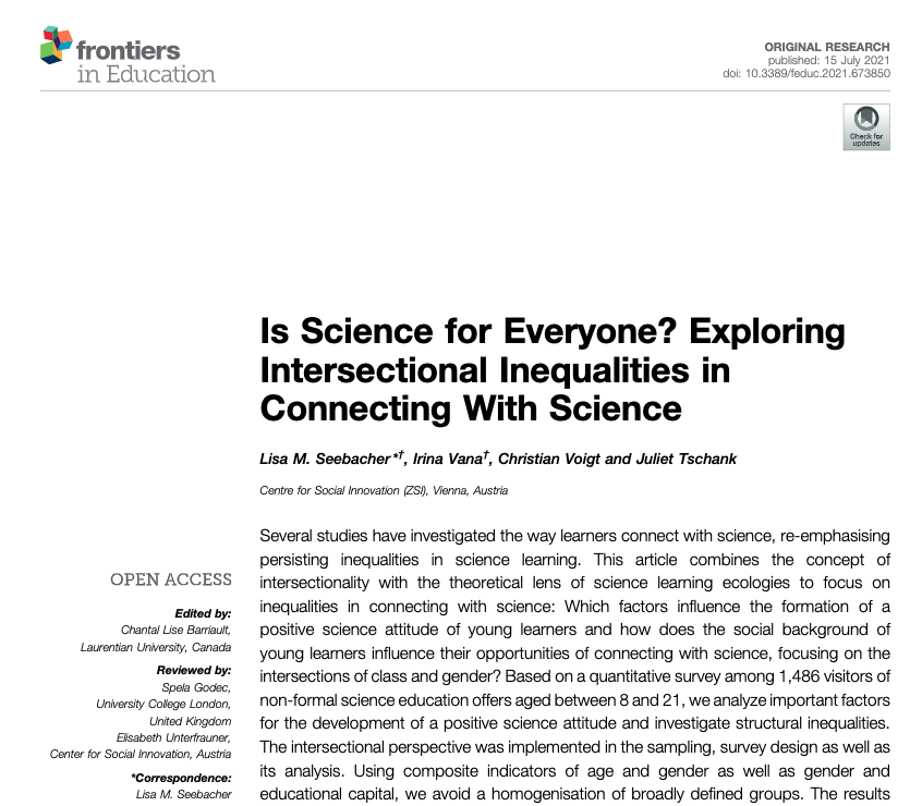 test Twitter Media - lead by the fantastic Lisa M. Seebacher our #OpenAccess article is out: 'Is #Science for Everyone? Exploring Intersectional Inequalities in Connecting With Science' #STEAM https://t.co/GuPRZVA7jd https://t.co/OxxRPshXK1