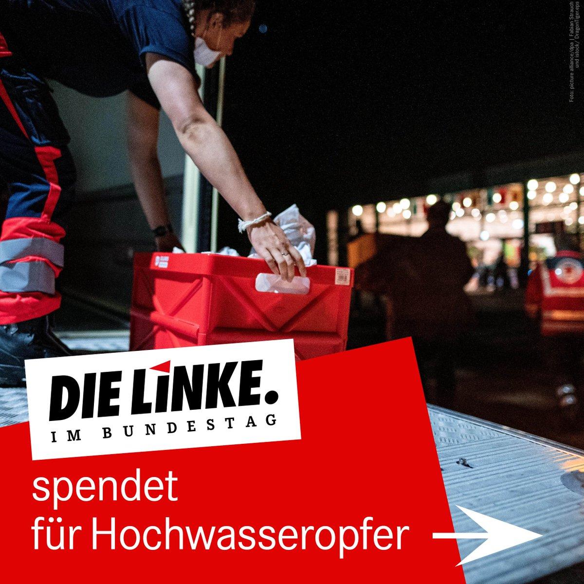 Bundestagsfraktion der LINKEN spendet für Hochwasseropfer: Als Zeichen der Solidarität werden die Abgeordneten der Fraktion DIE LINKE im Deutschen Bundestag jeweils mindestens 1.000€ für die Hochwasseropfer spenden. https://t.co/RN2oJV2gy1