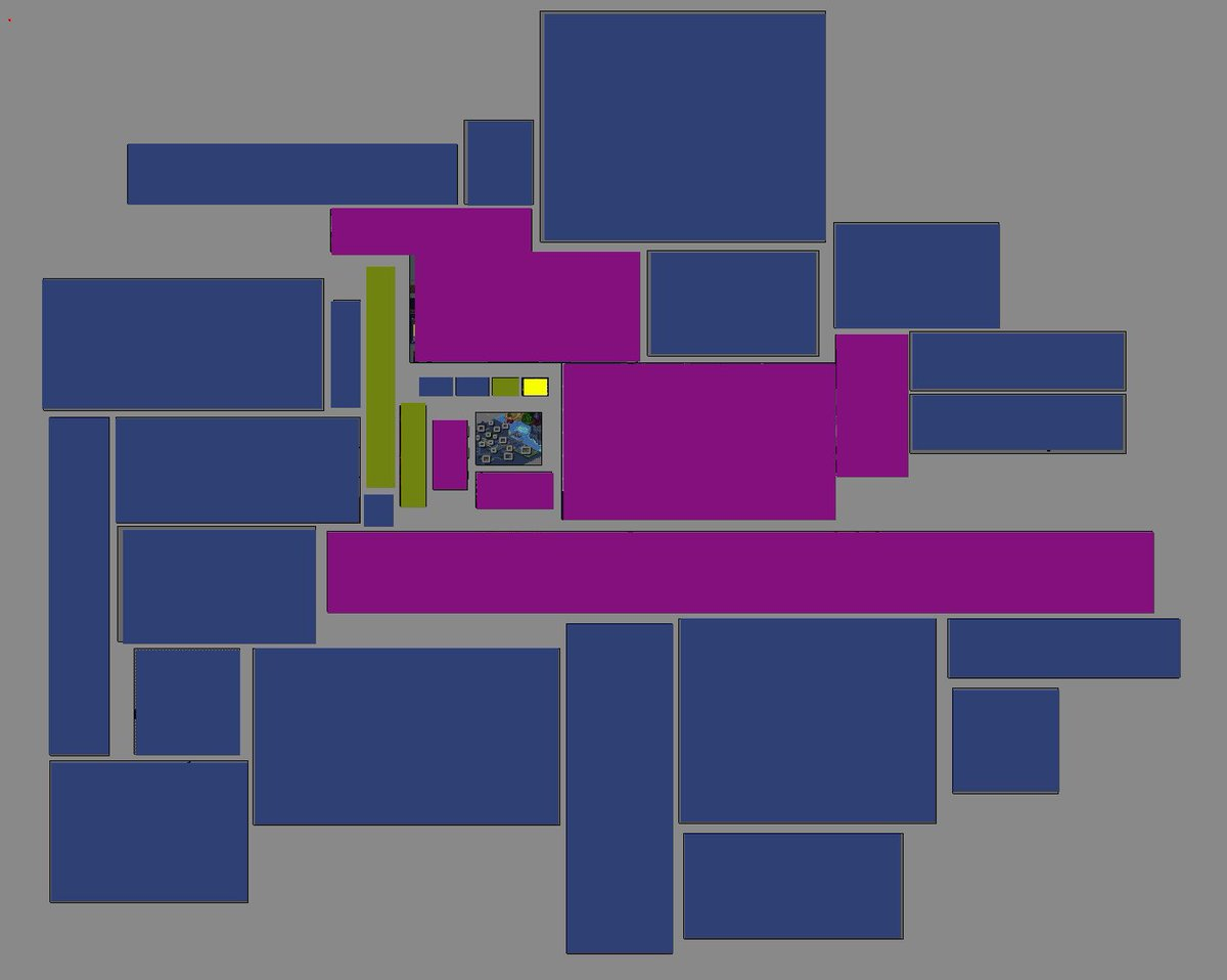 test Twitter Media - CMOhn's full map will be (at least) this big. 😵💫 Purple= in the demo. Green= cutscenes, credits etc).. Yellow= The size of a single screen. Blue= WIP   #tiled has a really useful atlas feature that helps get an overview of the entire project. #amiga #indiedev #scorpionengine https://t.co/N0svGVQoP3