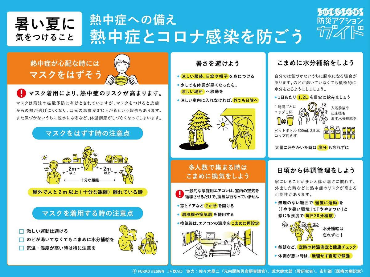暑さ対策を必ずご確認ください。 根性論では暑さは我慢できません。どんなに屈強な人でも熱中症になります。特に高齢者と乳幼児は要注意。幼児の「疲れた」は熱中症のサインの場合も。適切なマスク着脱や暑さ対策、もしものときの応急処置など確認を。熱中症に本気で気をつけて安全にお過ごしください