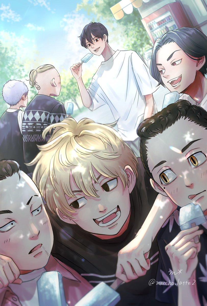 「マイキのことよろしく頼むな!」  ジャンケンのその後 偶然真一郎が通りかかってみんなにアイスを買ってくれましたとさ  (妄想です) #東卍FA  #東京リベンジャーズ