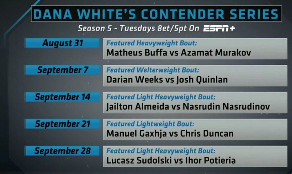 Dana White's Contender Series returns on August 31st.   #UFC  #DWCS https://t.co/Npr0RuCemS