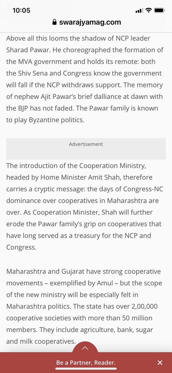 Why Sharad Pawar hot-footed it to Delhi yesterday to meet PM Modi: the new Cooperation Ministry is a sword of Damocles over the heads of NCP-Cong who control Maharashtra's 2 lakh cooperatives in milk, sugar, agri — and banks. A treasury now under threat. Excerpt from my column https://t.co/NnUAvKZWHK