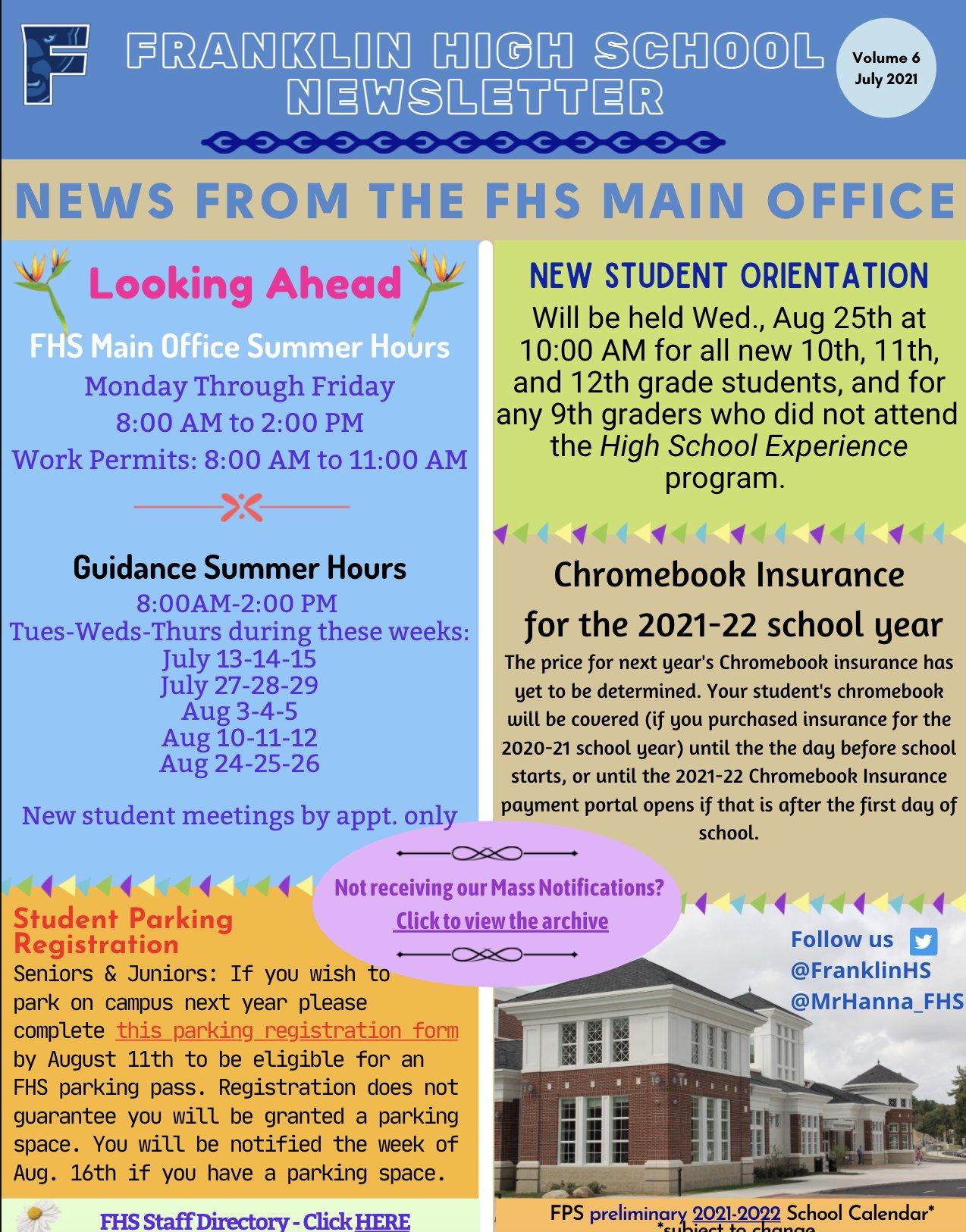 Franklin High School - Mid-Summer Newsletter