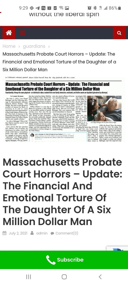 @1_voice2 @AASGAAbuse @NOTENANTHARASS1 I empathize.  My father (Attorney Marvin H. Siegel) became prisoner of Probate Court: August 17, 2011.  Murdered: March 15, 2019  via the Professional Predator Boston law firm of Burns Levinson .@burnslev & Judge Abbe Ross  Managing Partner of .@burnslev: Chair of MA Bar Board https://t.co/Wb40GYJGoF