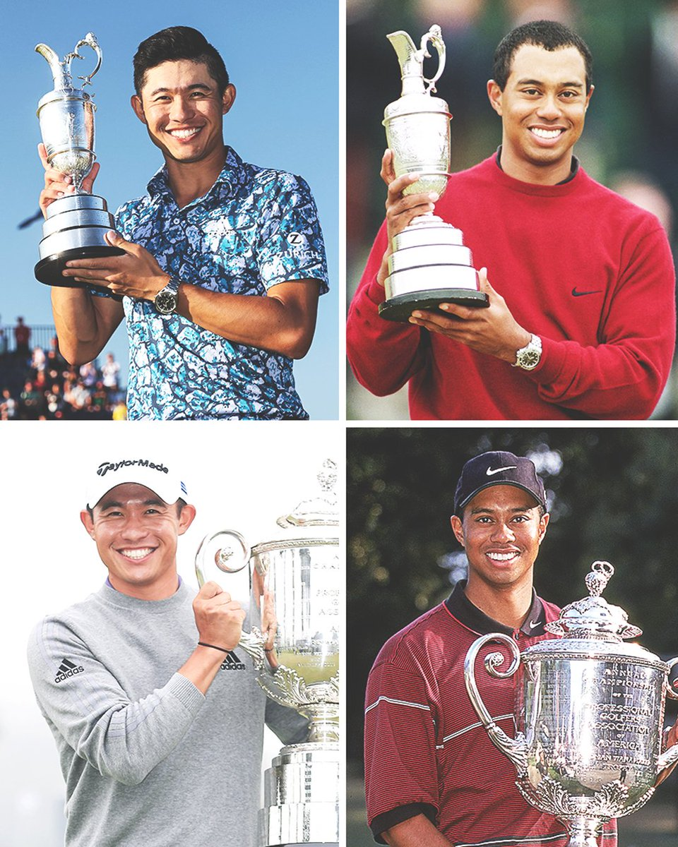 Only two players in men's golf history have won The Open Championship and the PGA Championship before turning 25:  🏆 Collin Morikawa 🏆 Tiger Woods https://t.co/rhU0VMijeu