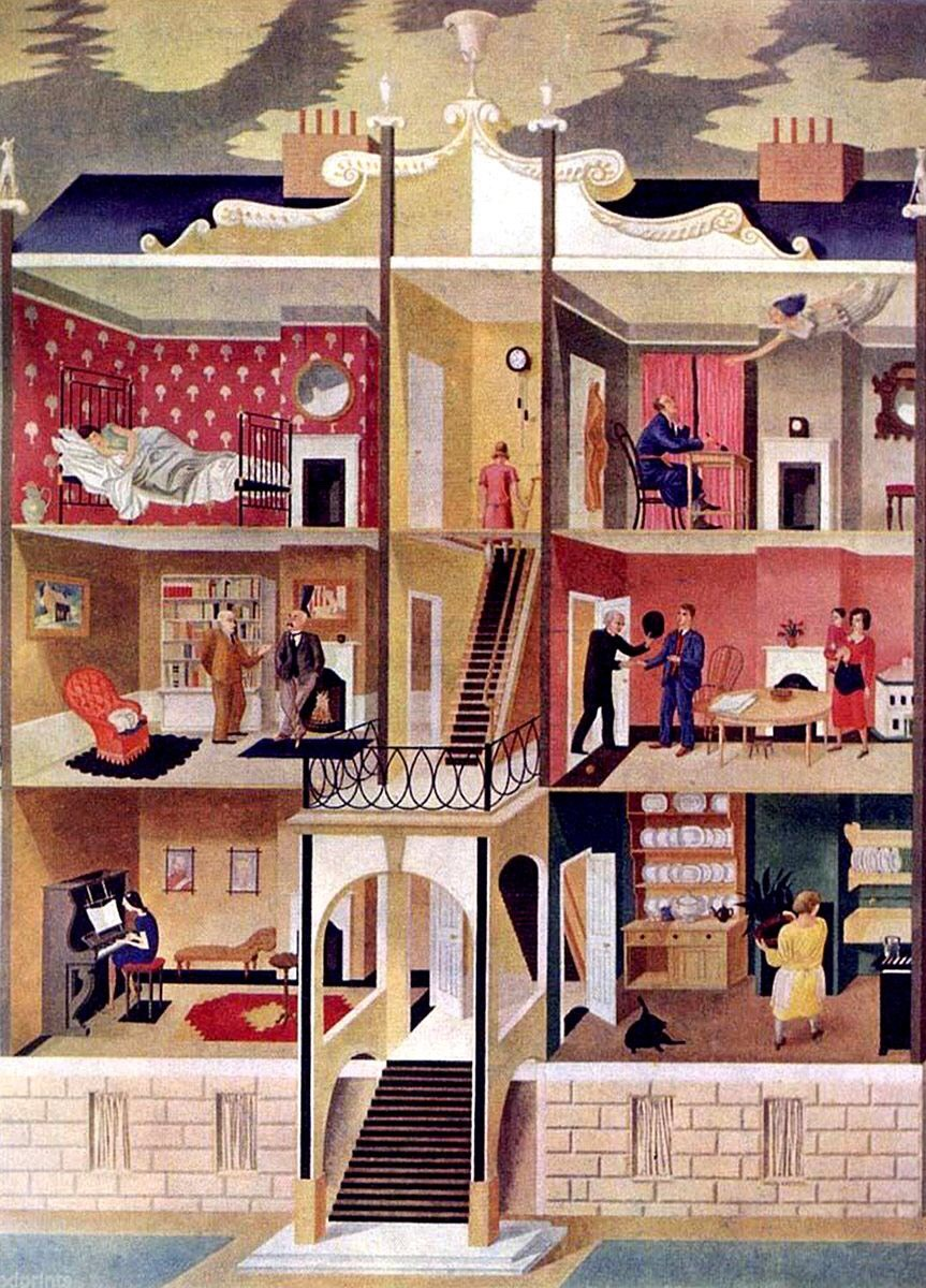 Life in a Boarding House, Eric Ravilious, 1930. A now lost mural: one of several painted by Ravilious and Edward Bawden at Morley College in #London. It was destroyed in the Blitz during #WW2. https://t.co/jMm0rATahq