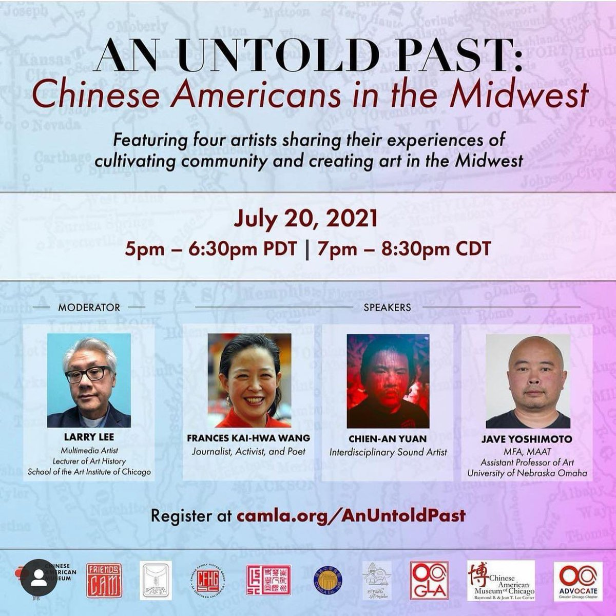 """I'm speaking @camLAorg Tuesday July 20 5pm pdt/ 7pm cdt/ 8pm edt/ 2pm hst w @1473music register today for """"an untold past: Chinese Americans in the #midwest"""" #aapi #apia #arts #artists https://t.co/vYQEui4uOm https://t.co/cfTV5NL5oW"""