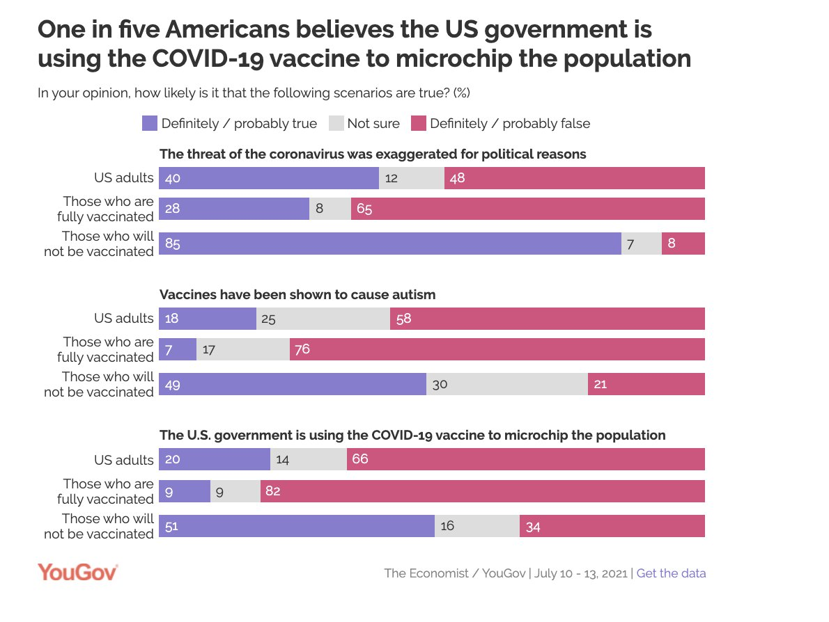 One in five Americans believes the US government is using the COVID-19 vaccine to microchip the population  https://t.co/AkNfMXQDT5 https://t.co/89RLpB45aW