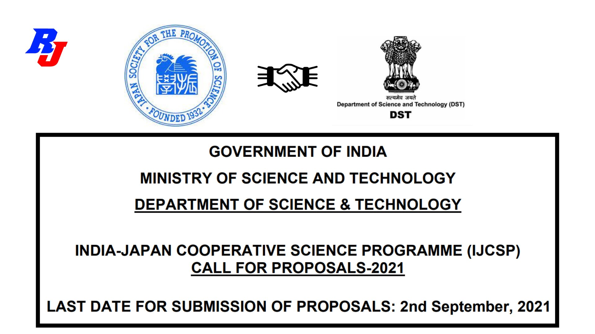 Call for Proposals-2021-India-Japan Cooperative Science Programme (IJCSP)