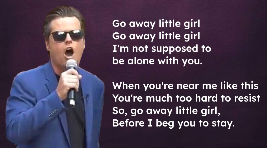 Why @mattgaetz  should NEVER be confused with @donnyosmond   Donny sang this song.  Matt didn't https://t.co/iX5NgI8zTj