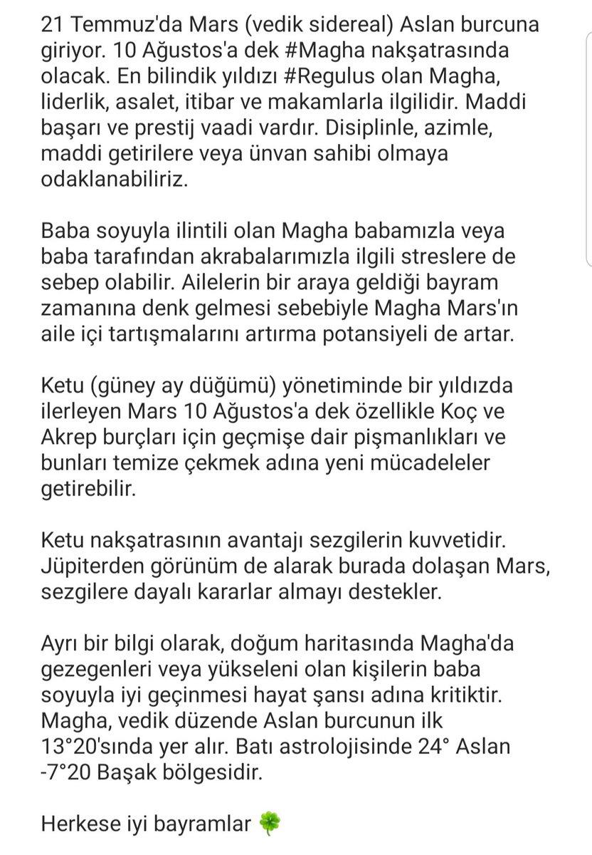 RT @YesimArpat: Mars Magha nakşatrasında  #yeşimarpat #vedikastroloji #burçlar #doğumharitası #magha https://t.co/9AJMZUi3h7