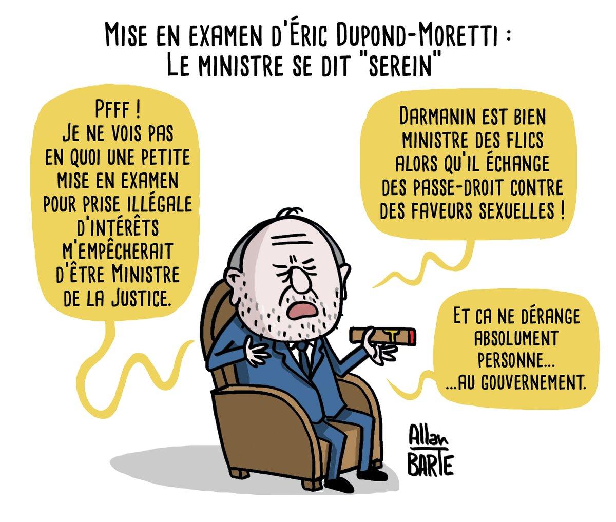 """Allan BARTE on Twitter: """"Vous voyez le mal partout ! #DupondMoretti Mise en  examen d'Éric Dupond-Moretti pour prise illégale d'intérêts : le ministre  se dit """"serein"""" ▷ Source : https://t.co/XCJqmGmDeR #DupontMoretti #Darmanin"""