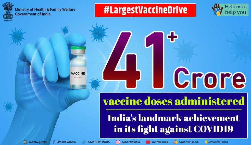कोविड-19 टीकाकरण की संख्या 41.52 के पार, 18-44 आयु वर्ग को अब तक 13.44 करोड़ से अधिक टीके की खुराक दी जा चुकी