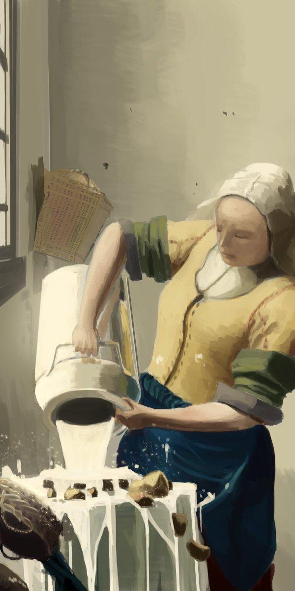 牛乳を注ぎまくる女