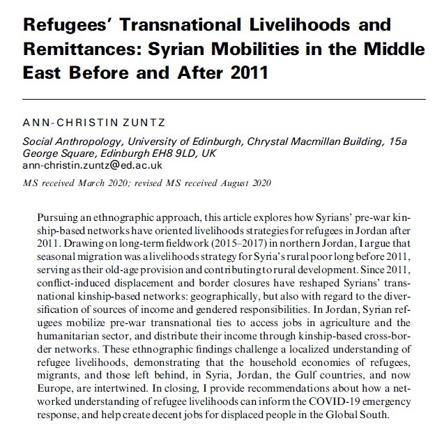 1/4 In my new article in the Journal of #Refugee Studies, I argue that transnational kinship networks remain a safety net for Syrian refugees in the Middle East, but also a source of exploitation: https://t.co/GKmnthOBxP   @refugeestudies  W/ cool maps by @joezuntz https://t.co/REz4mDT1sS