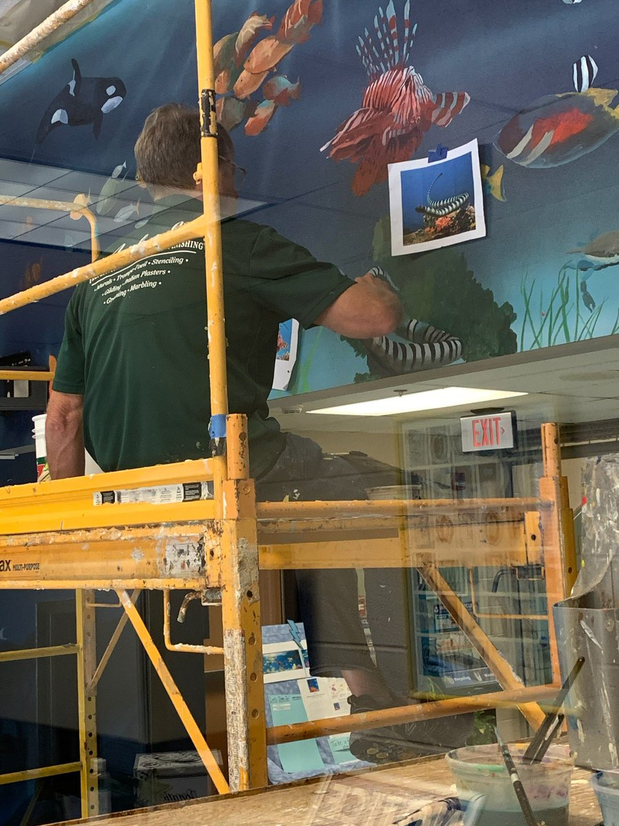 New lobby mural in progress 🎨 🐠 🐟 🐙 Check the E-Friday Folder for more information about this project. <a target='_blank' href='https://t.co/CbD1KrJQS4'>https://t.co/CbD1KrJQS4</a>
