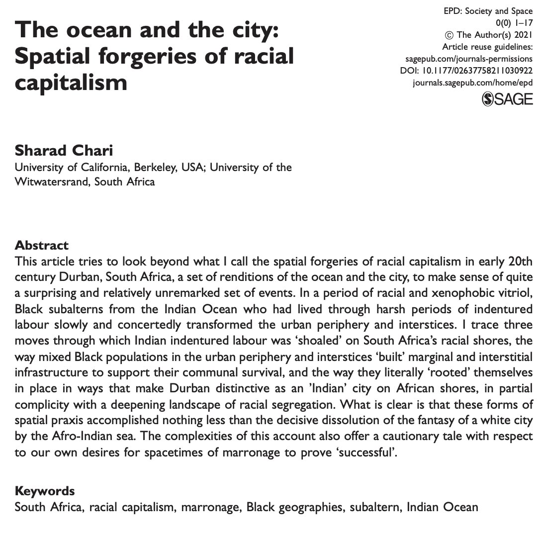 """Online 1st: Sharad Chari """"The ocean and the city: Spatial forgeries of racial capitalism""""  Part of forthcoming special issue 'dwelling in liminalities' guest edited by @michelelancione and @XazaarAdjame  https://t.co/um4MJ9O7Qy https://t.co/oBiHmhaoDv"""