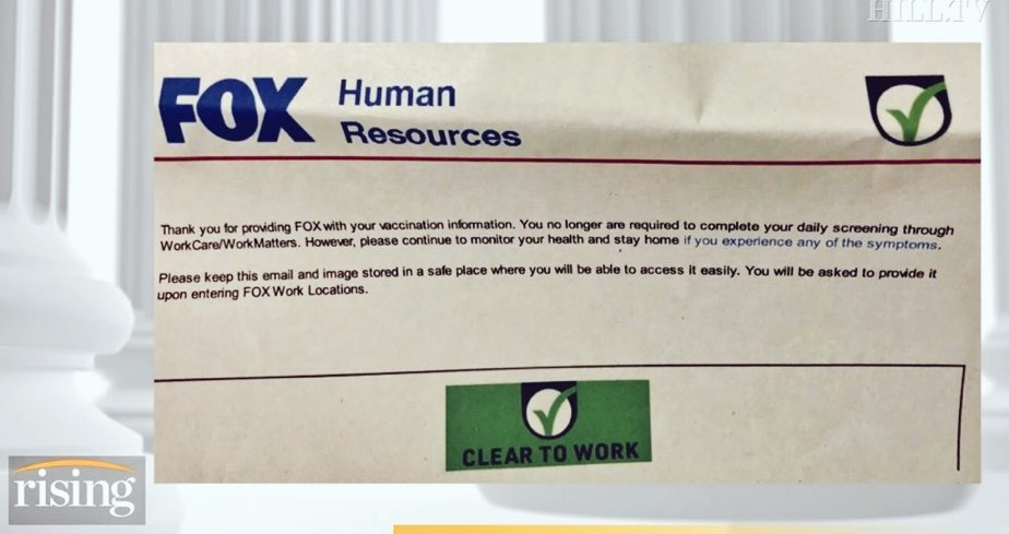 Fox News has put in place a vaccine passport system for their employees. Pass it on. https://t.co/SmhY62jhA7