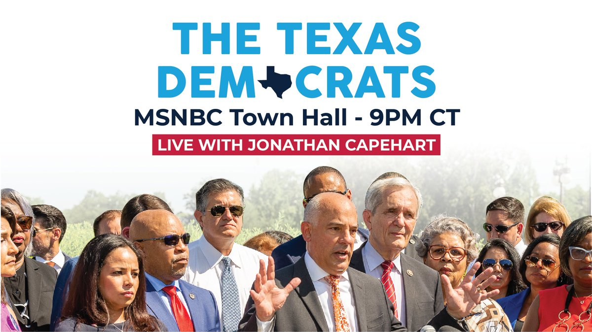 📺TONIGHT at 9 PM CT on @MSNBC - Join @TexasHDC members with @CapehartJ as we discuss our ongoing fight to protect our democracy and freedom to vote. #Txlege https://t.co/NfpMagW31y