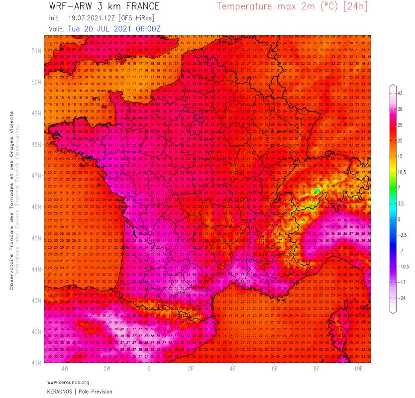 Journée très chaude, jusqu'à près de 39°C dans l'intérieur du #Var notamment ce lundi. Demain mardi, fortes chaleurs dans le sud-est et en Occitanie avec localement 35°C jusqu'en plaine toulousaine.