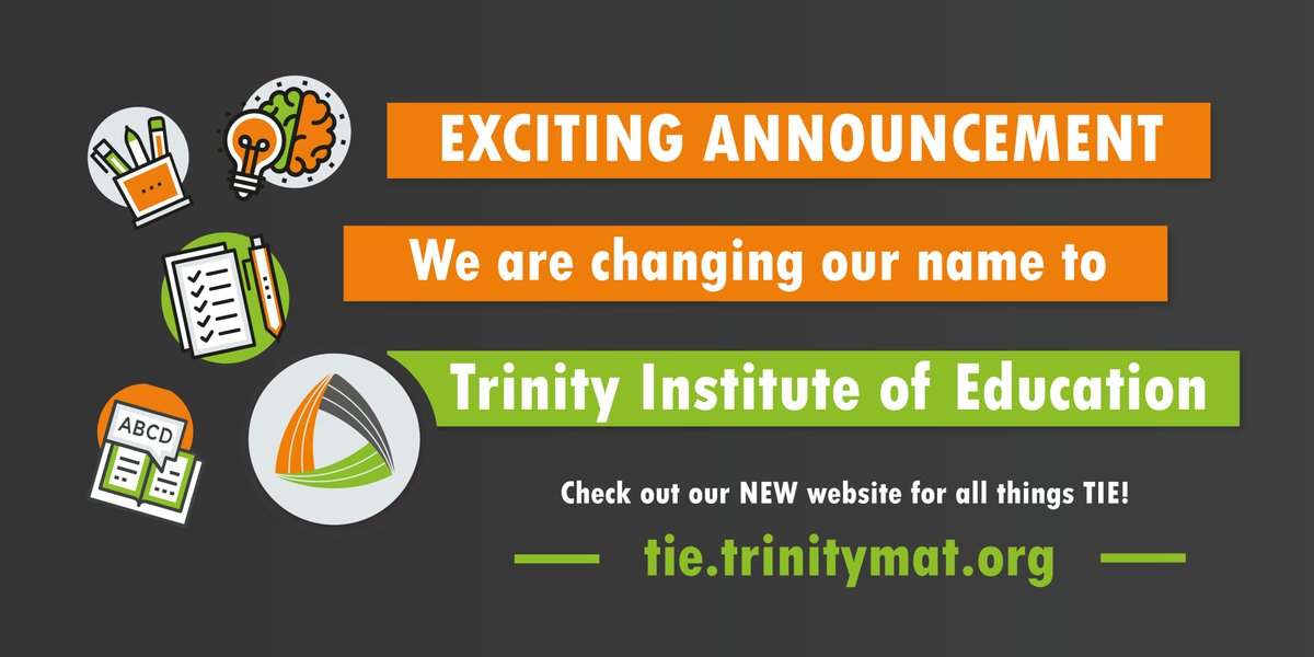 RT @Trinityteach 🧡 We are excited to announce that we have changed our name from Trinity Teaching School Alliance (TTSA) to Trinity Institute of Education (TIE) ⭐️ Check out our brand new website https://t.co/WfbQx96YlL for all things education from our ITT programme to NPQs!   #Yorkshire #Teach
