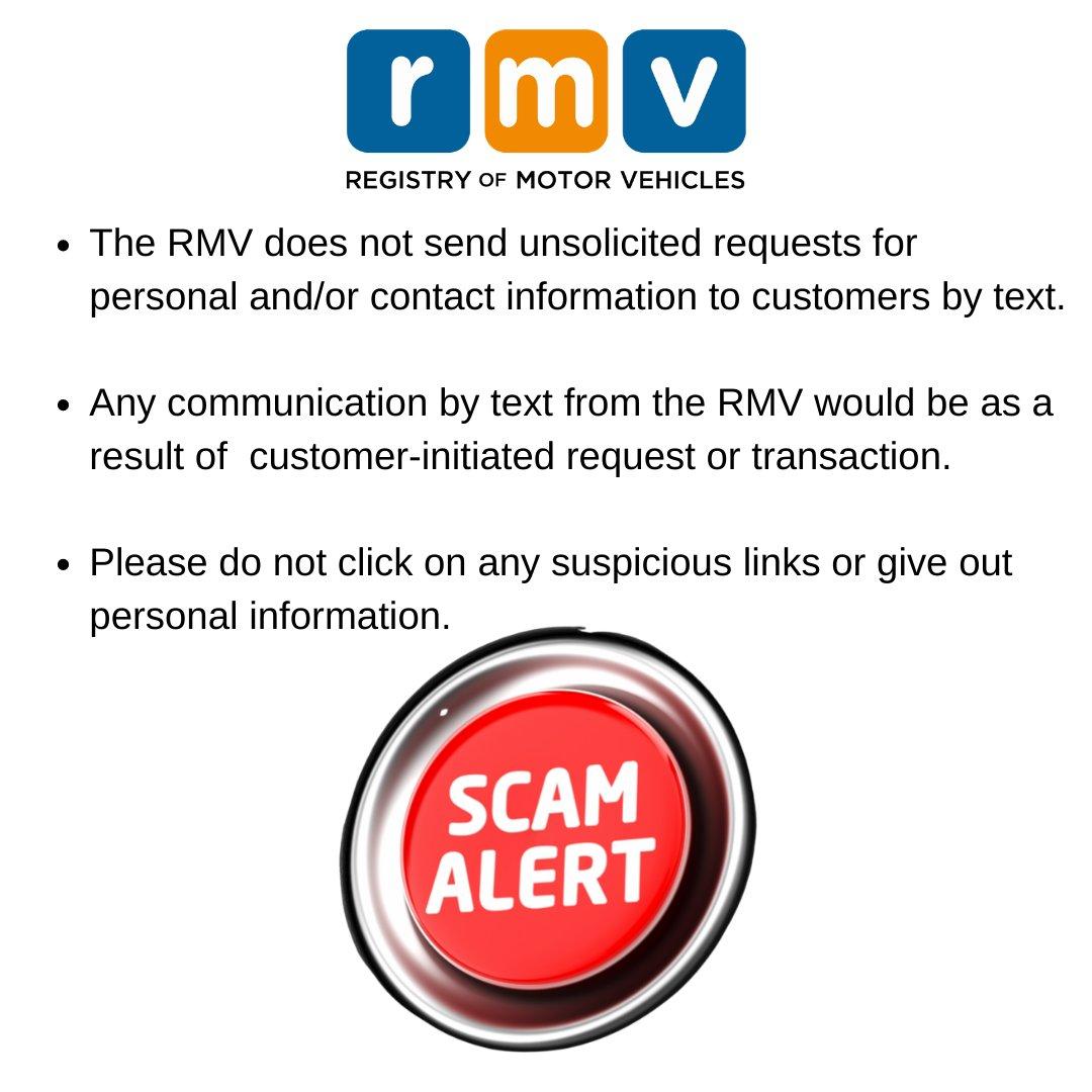 """Massachusetts RMV: """"Beware of text phishing scams!"""""""