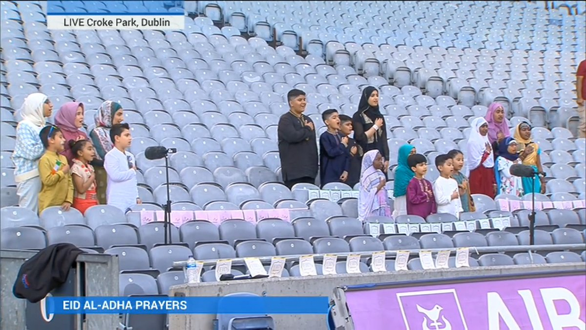 Ending the Eid al-Adha ceremony at Croke Park this morning, the Islamic Centre of Ireland's children's choir sing the national anthem. | Read more: https://t.co/oSTUqJM8Xc https://t.co/rhhz59Liqo