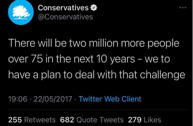 """Conservatives tweet that says """"there will be two million more people over 75 years in the next 10 years, we have a plan to deal with that challenge"""""""