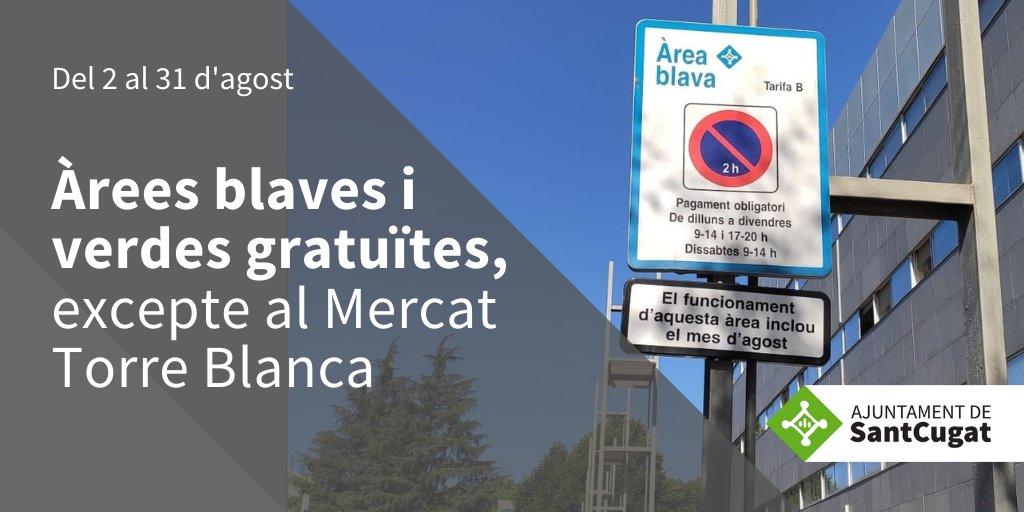 📢ATENCIÓ  🟢🔵A partir del dia 2 i fins al 31 d'agost, les zones d'estacionament regulat passen a ser gratuïtes, a excepció de la del Mercat de Torreblanca #SantCugat  ▶️https://t.co/2wit7EmA1S   @JoseGallardoSTQ