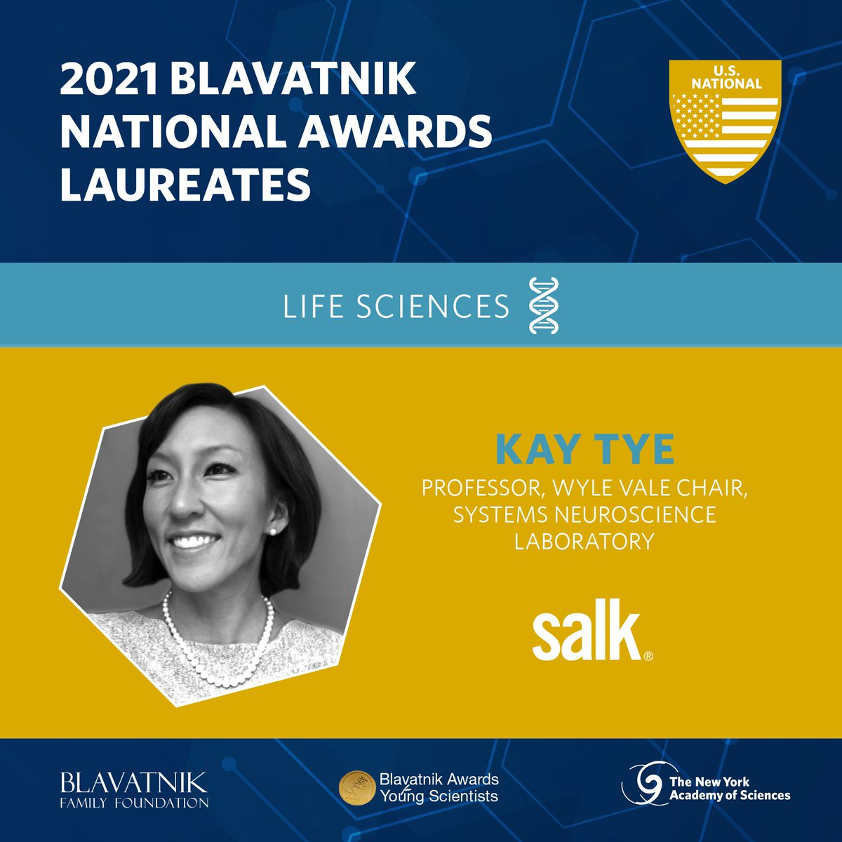 Congratulations to Salk Professor Kay Tye! One of three 2021 Blavatnik National Award Laureates! 🏆 #blavatnik2021
