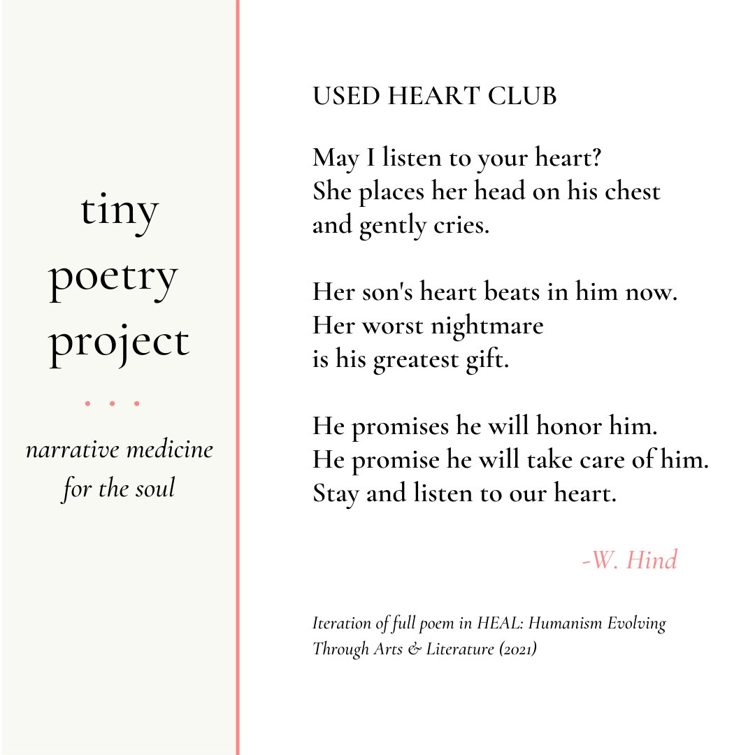 Thanks for joining Tiny Poetry Tuesday. Honor your heart!  #transplant #hearttransplant #organdonor #artinmedicine #medicalhumanities #micropoetry #narrativemedicine #micropoem #medicalmoms #heartwarrior #HLHS #physicianpoet #caregiver #instagrampoetry https://t.co/LuGLpQYII5