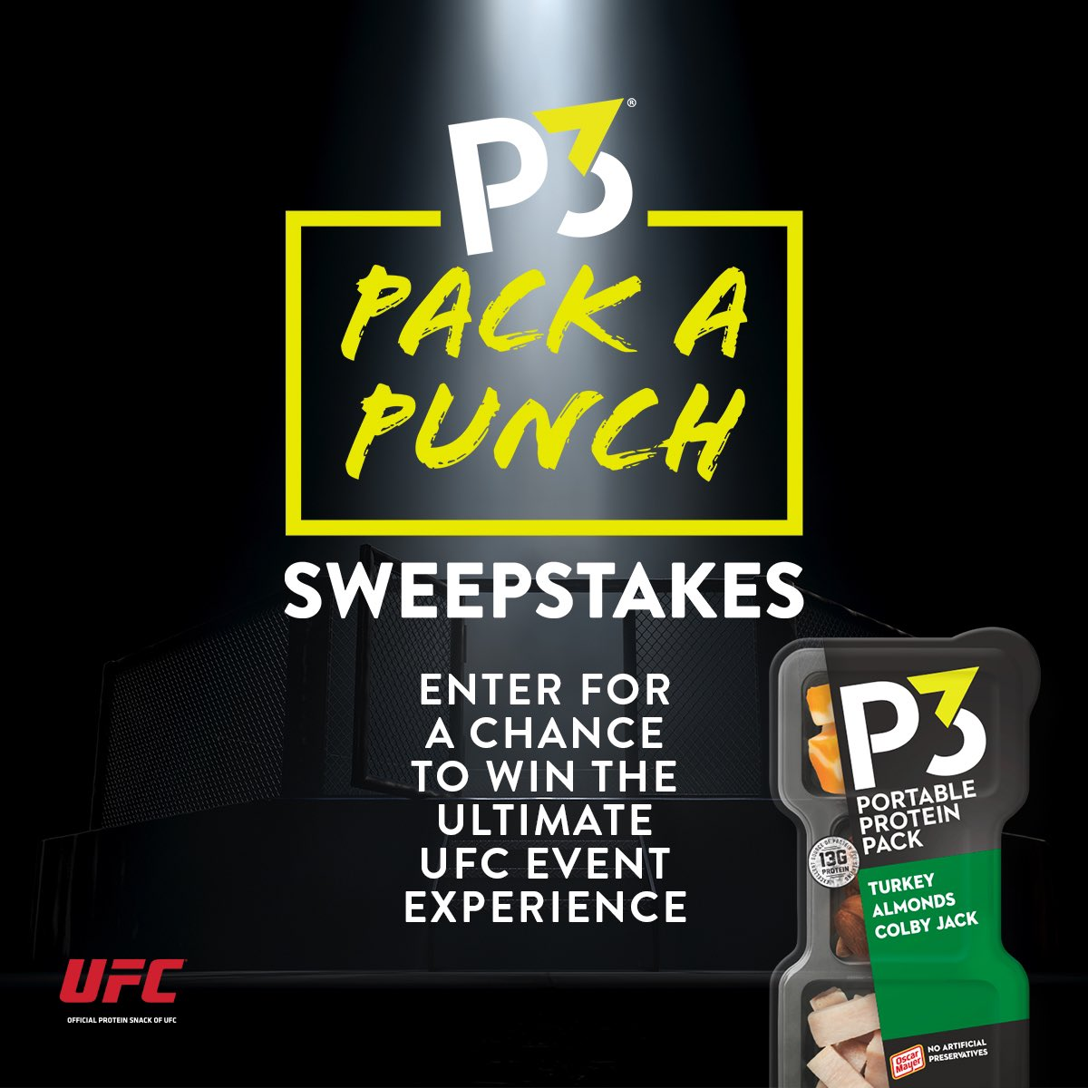 It's your chance to live that fight life with the ultimate UFC VIP prize pack. Think you got what it takes? Double your chances of winning with any purchase of P3 products.  https://t.co/tuRh4HRaBQ #P3PackaPunchSweepstakes https://t.co/NaaOLCXaGQ