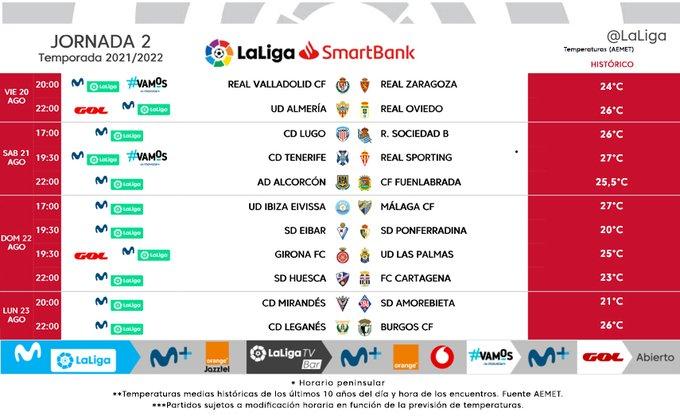 Horarios de la jornada 2 en LaLiga SmartBank.