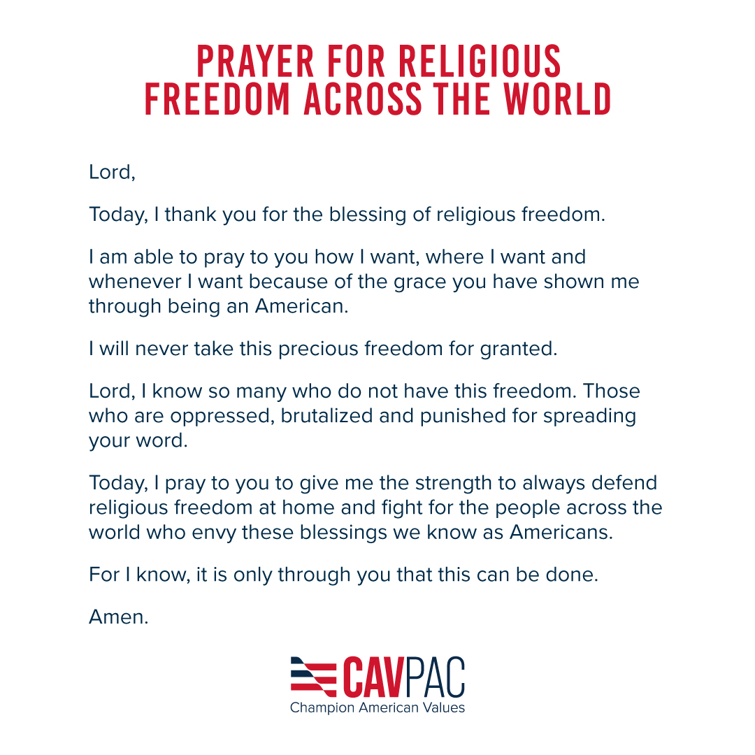 Because of our God-given rights as Americans, we are able to pray this how, where and when we want.  Please join us in prayer for religious freedom across the world. https://t.co/jDtOzof0B3