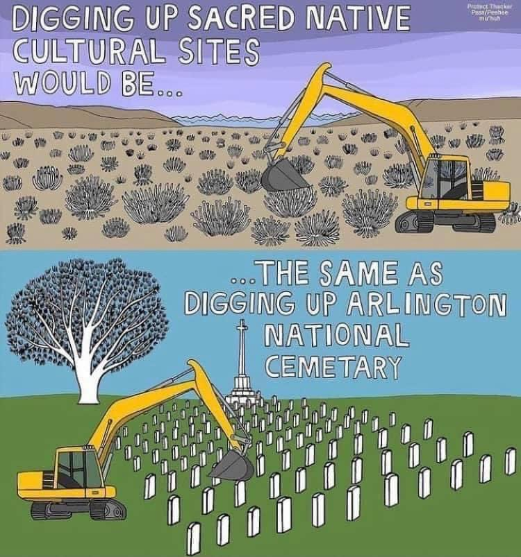 This is true. Nothing makes Arlington National Cemetery any more or less sacred than Native American burial sites. The only difference between the two is the perception that centers White culture and values above all. That's the wrong perspective to have on things. https://t.co/NYbqbrOSVS
