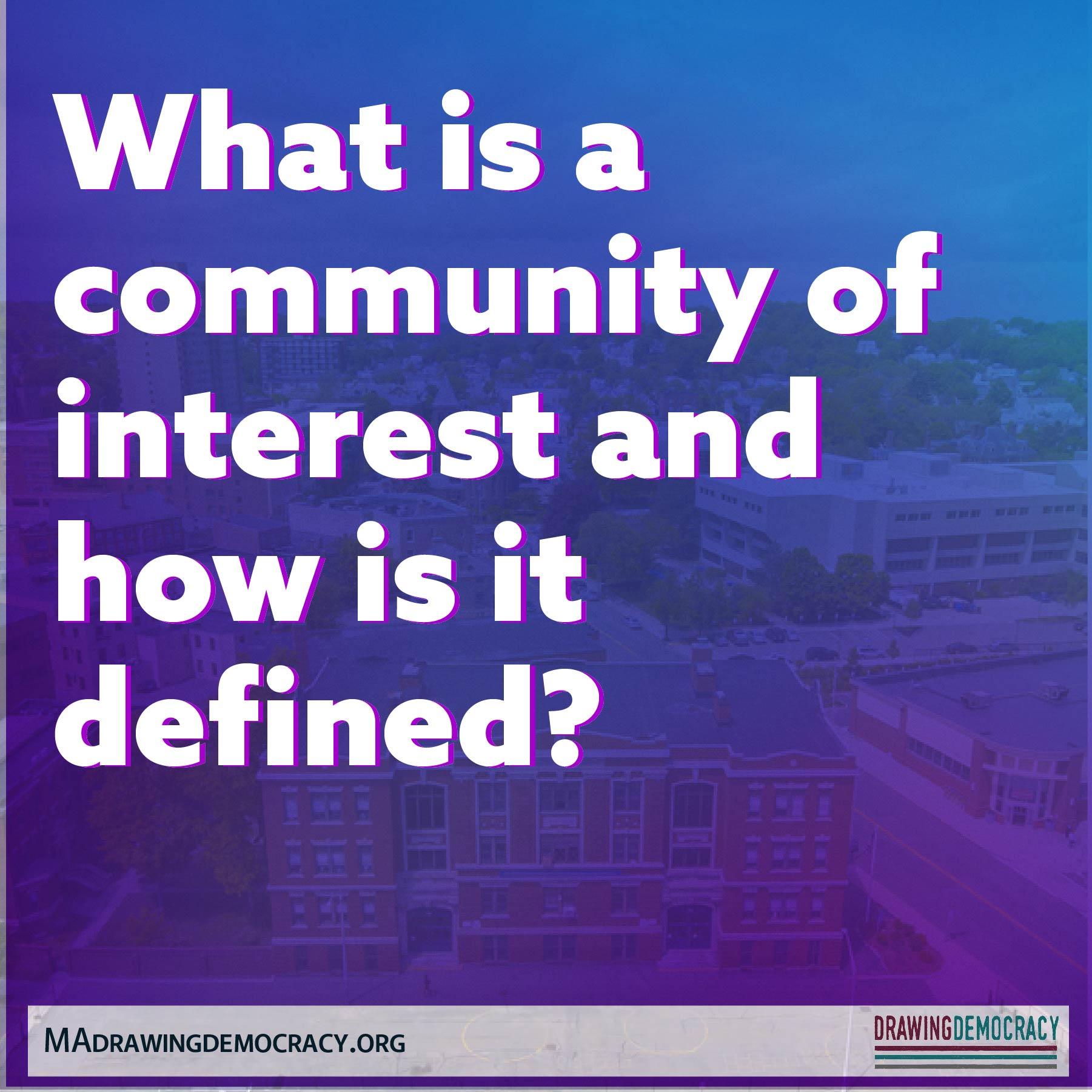 "Drawing Democracy: ""communities of interest"""