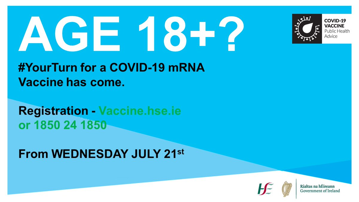 📢 All those 18+ can register for an mRNA vaccine (Pfizer / Moderna) from tomorrow  This is because our vaccination programme is ahead of schedule and continues to perform really well.   Huge thanks to our vaccination teams and volunteers i vaccination centres @HSELive https://t.co/y8R9CIQPc4