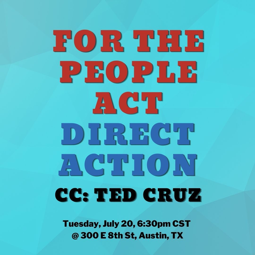 We need democracy reform now (but really like yesterday). Young people are gonna make it happen.  Join us for a direct action TONIGHT at 6:30pm outside @tedcruz's office. You don't want to miss it 👀🤠  RSVP: https://t.co/ZcwoGGJVk7  Fb event: https://t.co/fUGErYFXbG https://t.co/RseHmuhkCr